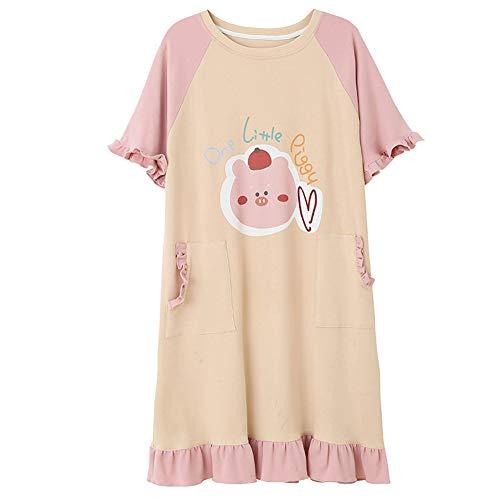 ZTIANR -Damen Nachthemd, Aus Reiner Baumwolle Nachthemden Pyjamas Für Die Jugend Lady Little Pig Kawaii Druck Sleep Schicke Art Students Startseite Kleidung,Rosa,M