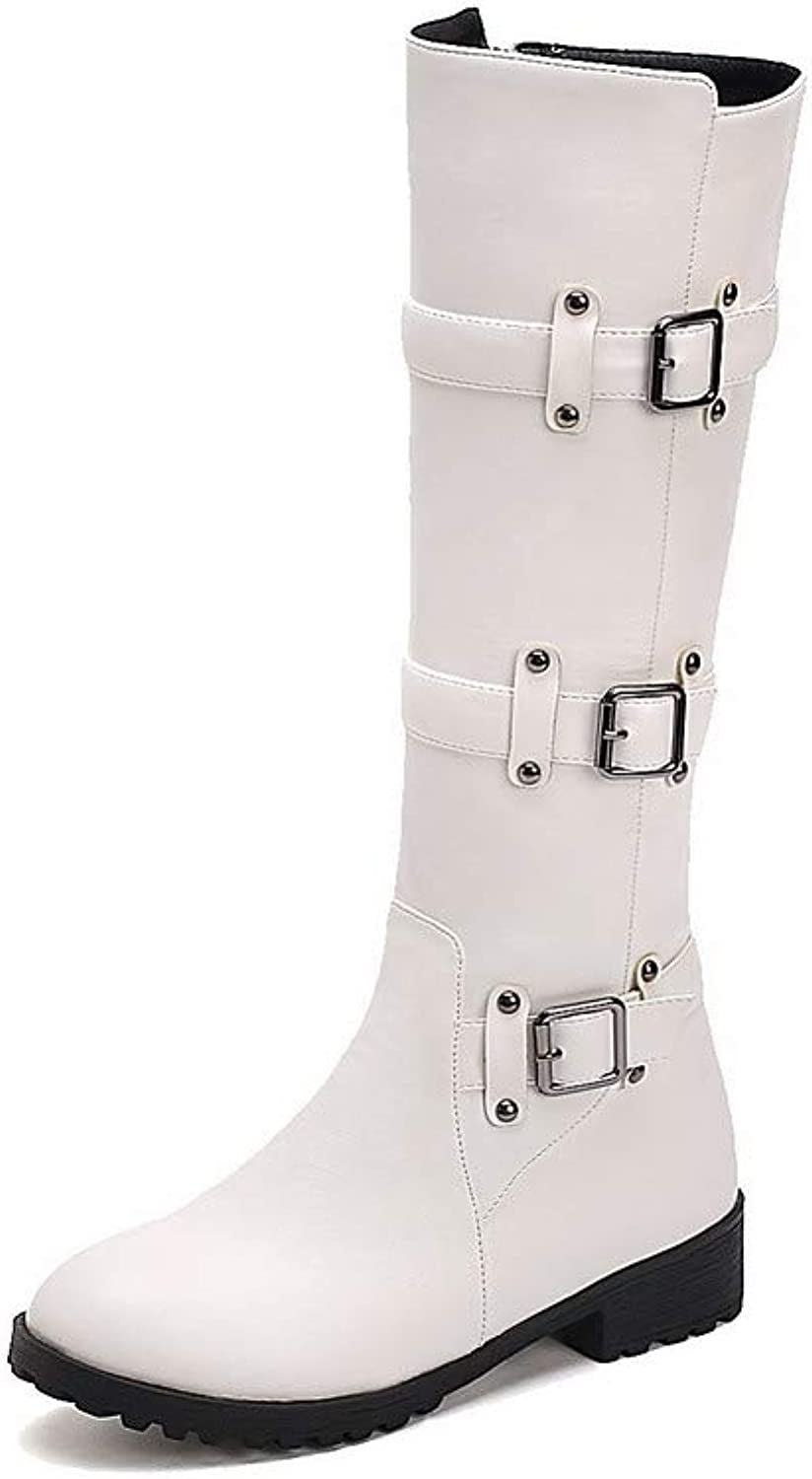 AmoonyFashion Women's Solid Low-Heels Round-Toe Pu Zipper Boots, BUSXT125046