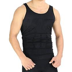 Rapid Men Vest Innerwear Slim Look Tummy Tucker Body Shaper Undershirt for Men (Black)