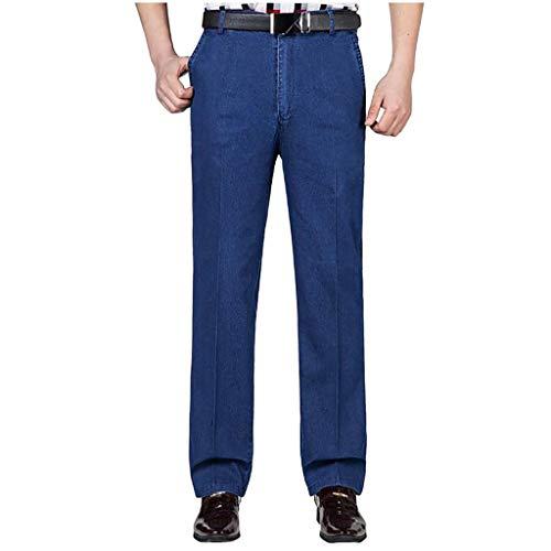 URIBAKY - Pantalón de deporte para hombre, estilo chino ajustado, a rayas informales azul 31