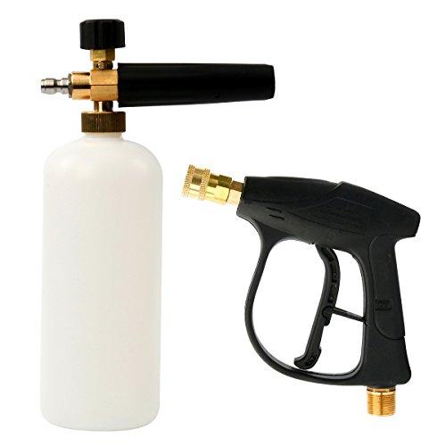 HighFree High Pressure Washer Gun and Pressure Washer Jet Wash Bottle, 1/4 inch Quick Release Adjustable Snow Foam Lance 33OZ(1L)