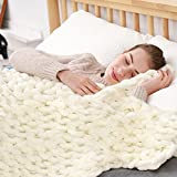 ZonLi Chunky Knit Throw Blanket - Handmade Large Soft Cable Knitted Chenille for Bed Sofa Boho Fluffy Thick Tightly Woven Blanket (White, 60''x80'')