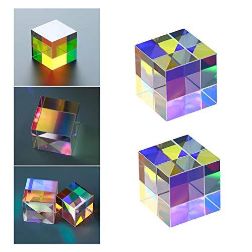 Light Cube Prism, 2pcs Optical Glass X-Cube Dichroic Cube Prism Rgb Combiner Splitter, for Multi-Color Physics Toy And Desktop Decor