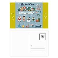 クリスマス雪だるまサンタクロースフェスティバル 友人のポストカードセットサンクスカード郵送側20個
