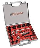 Boehm jbl230pacc Juego de sacabocados 2–30mm, incluye soporte, tablilla Punta Central, Barra con compás & Cuchilla de repuesto en maletín de plástico