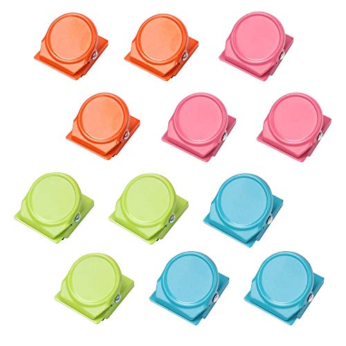 Miuphro マグネットクリップ 冷蔵庫 磁石クリップ 4色 強力 オフィス 家 学校 事務用品 付箋 ファイル紙固定 カラフル 12個入