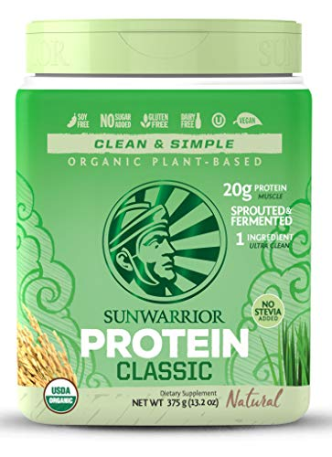 Sunwarrior Classic Vegan Sprouted Brown Rice Protein Powder (15 Servings, Natural)