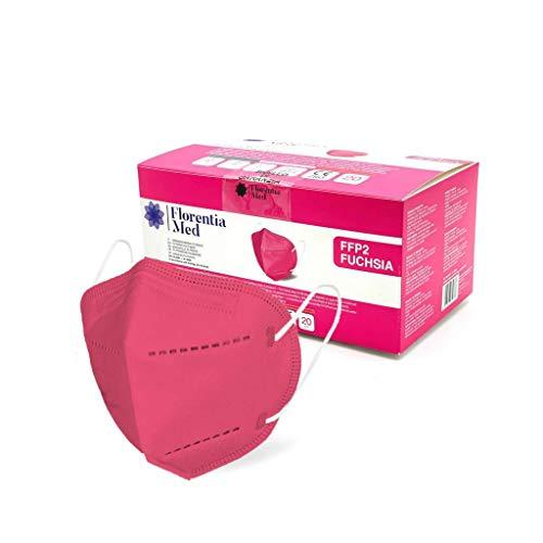Florentia Med Fuchsie FFP2 Gesichtsmasken HERGESTELLT IN ITALIEN CE-zertifiziert Kategorie PSA: III, gemäß EN 149: 2001 + A1: 2009. Schachtel mit 20 Stück Einzeln verpackt und versiegelt