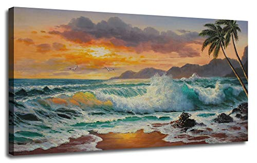 Ardemy Canvas Wall Art Beach Sunset Seawave Tropical Palm Tree Picture Prints, Blue Seascape Beach Large Size Ocean Painting Framed Panoramic for Living Room Bedroom Home Office Decor, 48