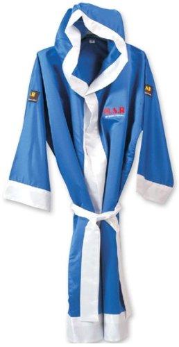 MAR International Ltd Boxing And Kickboxing Robe Muay Thai Gown Martial Arts Training Supplies Gear Polyester Silk Satin Fabric BlueWhite Medium