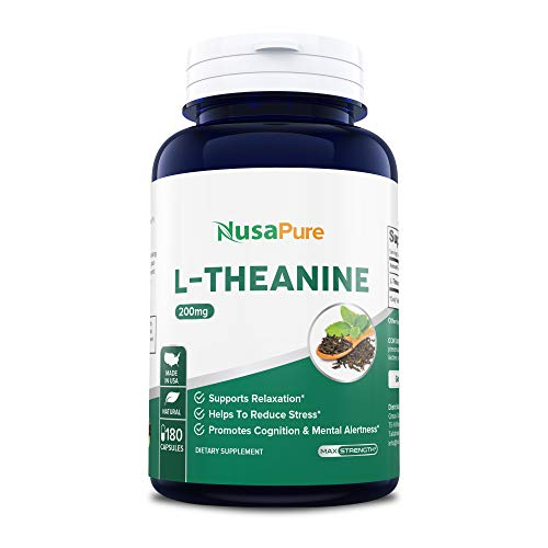 L-Theanine 200mg - 180 Capsules (Non-GMO & Gluten Free) - L Theanine to Support Relaxation, Focus, Stress Relief & Sleep