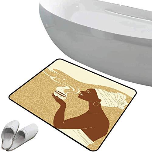 Alfombra de baño antideslizante de felpudo Mujer africana Alfombrilla goma antideslizante Sonriendo Happy Afro Lady con semillas de taza de café caliente Cacao Vintage,marrón crema marrón claro,Interi