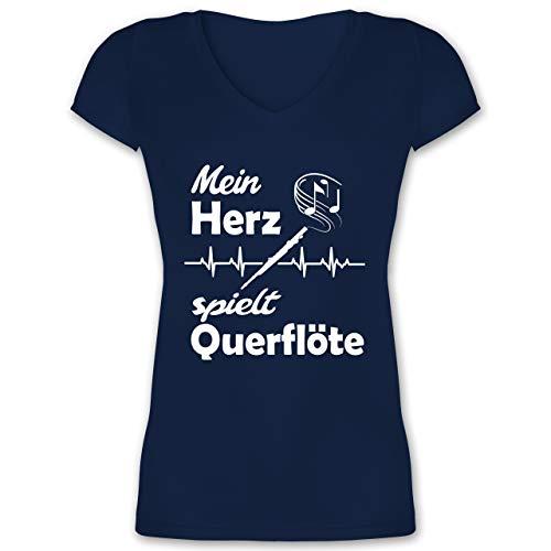 Instrumente - Mein Herz spielt Querflöte Herzschlag - M - Dunkelblau - XO1525 - Damen T-Shirt mit V-Ausschnitt