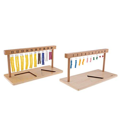 Homyl Montessori Mathe 1-20 Perlenketten Perlenmaterial Zählen Spielzeug für Kinder