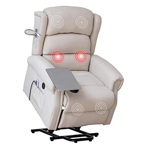 Mecor Lift Chair Recliner for Elderly,Power Lift Recliner w/Table&Light,Fabric Massage Recliner Chair with Heat/Side Pockets/USB Charge Port for Living Room (Beige)
