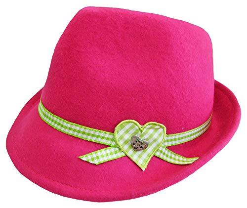 Kinder Trachtenhut Herz für Mädchen Pink Gr. 51 - Schöner Filzhut aus Wolle für Junge Madls zum Dirndl aufs Oktoberfest