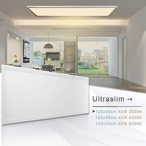 LED Panel Deckenleuchte Wandleuchte 120x30CM 40W Warmweiß 3000K Weißrahmen LED Lampe Ultraslim Einbauleuchte mit Befestigungsmaterial und Trafo