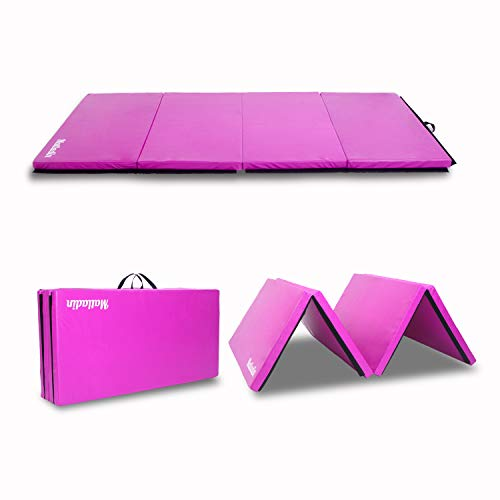 Matladin Folding Gymnastics Gym Exercise Aerobics Mat, 8ft x 4ft x 2in PU Leather Tumbling Mats for Stretching Yoga Cheerleading Martial Arts