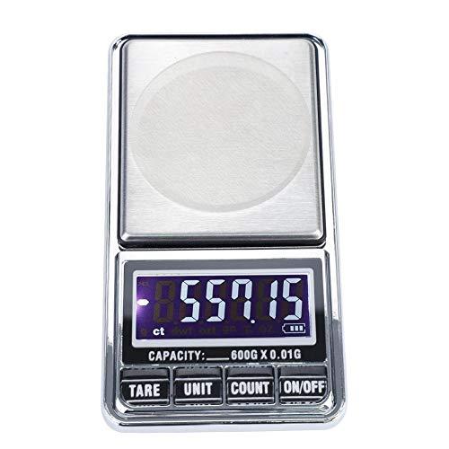 Bilancia tascabile digitale, bilancia elettronica di alta precisione Bilancia digitale tascabile bilancia da tasca per cucina, gioielleria, ecc.120 × 67 × 17,5 millimetri(600g/0.01g)