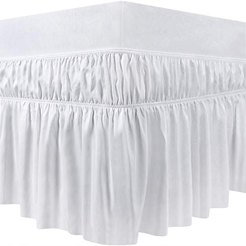 Utopia Bedding Elastic Bed Ruffle - Easy Wrap Around Dust Ruffle - Microfiber Bed Skirt with Adjustable Elastic Belt 16 Inch Tailored Drop - Hotel Quality Bedskirt, Fade Resistant (Queen, White)