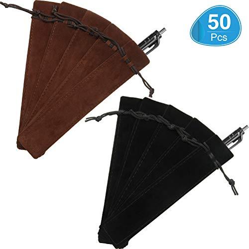 50 Pieces Pen Pouch Velvet Drawstring Pen Bag Velvet Case Pencil Bag for Pen and Pencil (Black, Brown)