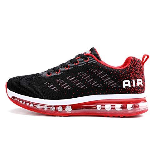 Unisex Herren Damen Sneakers Sportschuhe Bequeme Laufschuhe Schnürer Air Running Shoes 35-45(833Red44)