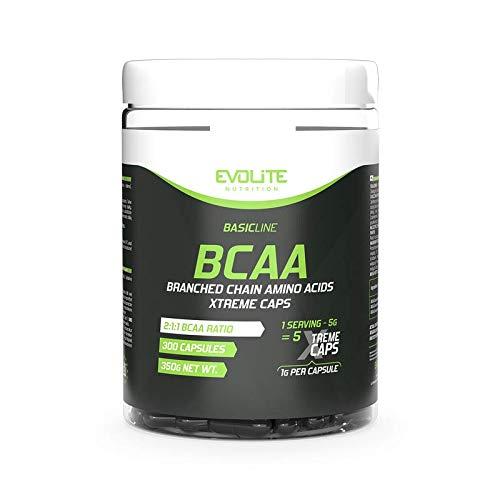 EVOLITE BCAA 2:1:1 Xtreme Concentrated Amino Acids, Anabolic Effect Leucine Insuleucine Value 300 Caps