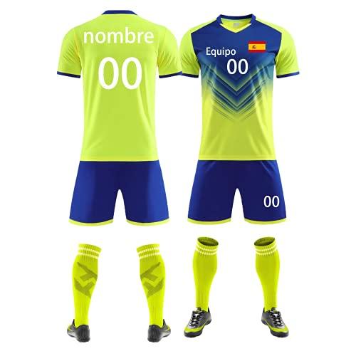 Camiseta de Fútbol Personalizada y Pantalón Corto con Nombre, Número, Logotipo del Equipocamiseta Futbol Niño  Camiseta Futbol Hombre (Amarillo)