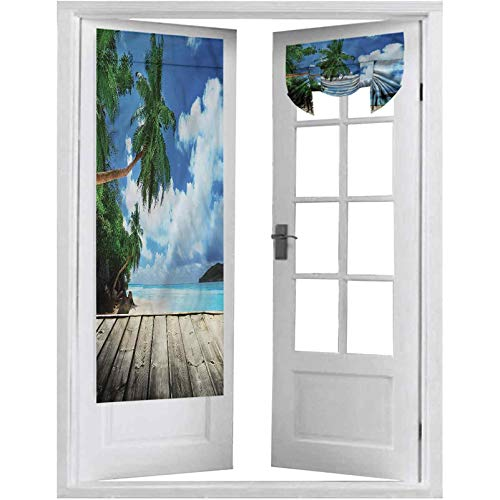 French Door Curtains, Landscape,Exotic Island Beach Pier, 1 Panel-26' X 68' Thermal Insulated Curtain Panel for Glass Door
