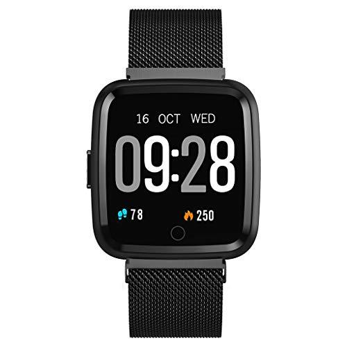 LTLJX Smartwatch Fitness Armband, Touch Screen Fitness Tracker Uhr mit Wasserdicht IP67, Bluetooth Smart Watch Sportuhr mit Schrittzähler Pulsuhren Stoppuhr für Damen Herren iOS Android,Black1