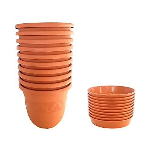 Juego de 10 macetas de 15 cm, color terracota, con platillo de plástico, resistentes a la intemperie, para jardín, balcón, resistente a las heladas, grandes macetas, sin agujeros