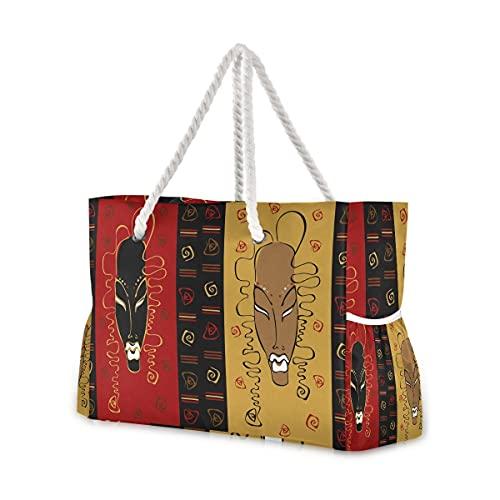 Große Strandtaschen Totes Canvas Tote Schultertasche afrikanische Maske Symbol wasserabweisend Taschen für Fitnessstudio Reisen Alltag