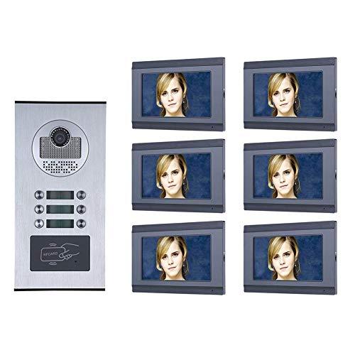 Interfono con vídeo de 7 pulgadas para viviendas, grabación, WiFi, RFID, IR-CUT HD 1000TVL, timbre de puerta con botón, 6 monitores