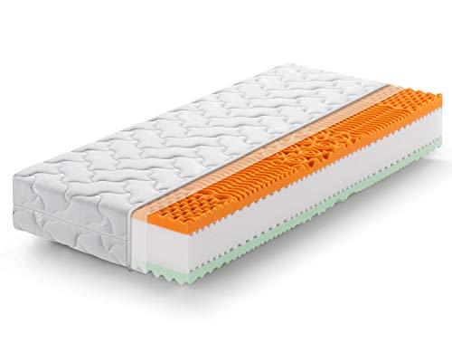 Marcapiuma - Materasso Piazza e Mezzo Memory Bio 120x190 Alto 22 cm - Rainbow Plus - H3 Rigido Dispositivo Medico Rivestimento Silver sfoderabile - Antiacaro Anallergico - 100% Made in Italy