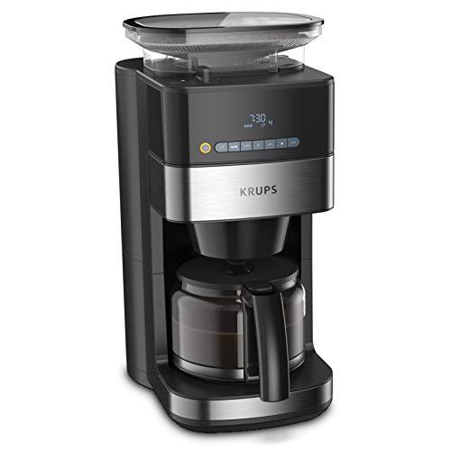 Krups KM8328 Grind Aroma Filterkaffeemaschine mit Mahlwerk | 180 g Bohnenbehälter | 1,25 L Fassungsvermögen für 15 Tassen Kaffee | Auto-Off-Funktion | 3 Mahlgrade | 24-Stunden-Timer | Schwarz