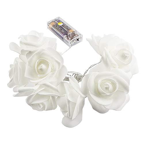 LED-Lichterkette | Rosen | 10 LED-Lichter | warmweiß | Mit Timer-Funktion (6 Stunden AN | 18 Stunden AUS) (weiß)
