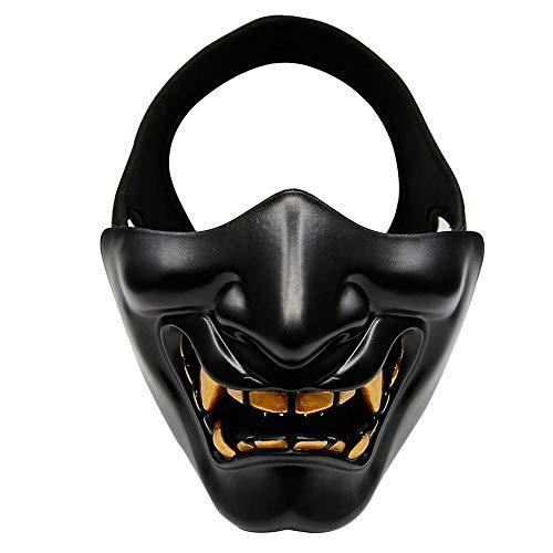 XWYWP Mscara de Halloween disfraz de Halloween Cosplay de la caries de los dientes del demonio malvado monstruo Kabuki Samurai media cubierta mscara de fiesta de miedo decoracin negra
