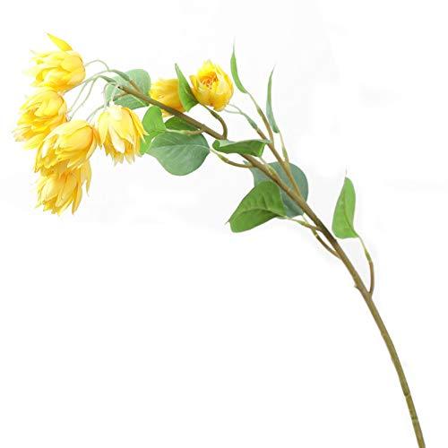 YONGYONGMY Künstliche Blumen Schöne Blumenzweig Seide Künstliche Blumen Hochzeitsdekoration Heimtabelle Mittelstück Dekor Fleur Artificielle (Color : Yellow)
