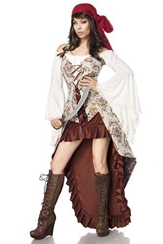 Mask Paradise Disfraz de novia pirata de lujo para mujer, disfraz de pirata para carnaval