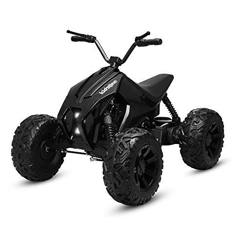 Kidzone Powerful Team 7 EVA Treaded Tires Kids Ride On ATV, 24V Battery Powered 55W Electric Vehicle 2 Speeds W/ Four Wheels Suspension, LED Headlight, MP3/USB Music Player, Black