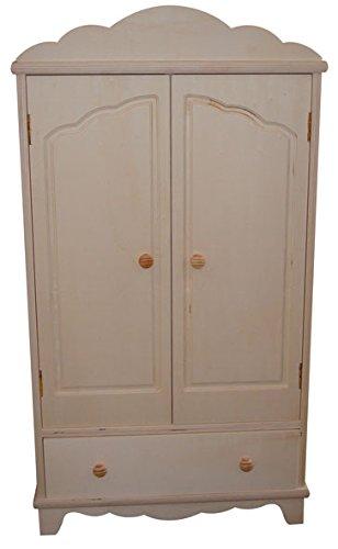 Armario muñecas. En madera de chopo, en crudo. Para decorar. Medidas (ancho/fondo/alto): 40 * 20 * 76 cms. Interior: 2 baldas y barra de colgar. Incluye 4 perchas.