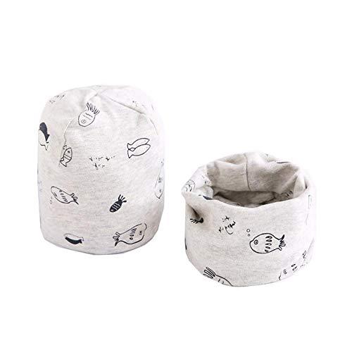 XCLWL Beanie dames muts en modieuze baby-caps set baby hoofddeksel frühling warme aanzetkraag kind-beanies-set katoenen kinderhoed sjaal D2 0-6 maanden