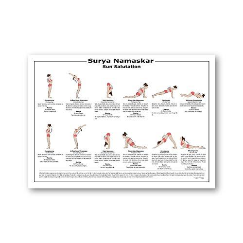 Yoga PóSter Surya Namaskar Secuencia Sol Cuadros A2 Hatha Yoga Asanas Cuadro Lienzo Pintura Gimnasio Pared Arte Yoga HabitacióN Decoracion Yogis Regalo 50x70cm Cuadros Decoracion Salon Sin Marco