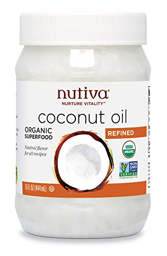 Nutiva Organic, Steam Refined Coconut Oil from non-GMO, Sustainably Farmed Coconuts, 15 Fl Oz (Pack of 1)