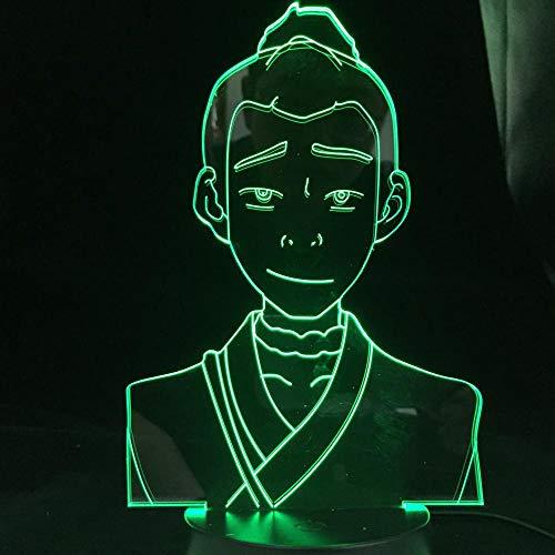 Luz de noche 3D Sokka Avatars The Last Airbender para decoración del hogar Cumpleaños Led Avatar Room Decor-16_Color_With_Remote