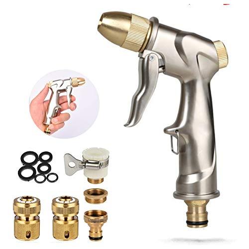 Meiyijia - Pistola de Metal para Boquilla de latón Completa,Regulable del Caudal de Agua,Conectores rápidos de latón Adaptadores de Manguera de jardín Accesorios para Grifo de Agua