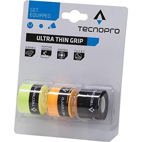 TECNOPRO Tennis Griffband Ultra Thin Grip, Gelb/Orange/Schwarz, One Size