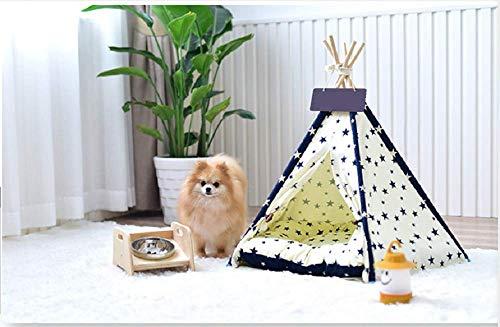 Matissa Indiase Tipi-tent voor kleine huisdieren, met kussen, voor katten, honden, konijnen, tent, speelhuis, maat S (40 x 40 x 50 cm)