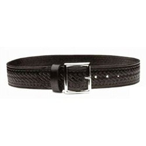 """POLICE BLACK LEATHER GARRISON BELT BASKETWEAVE STYLE, MADE IN USA, SIZE 30"""""""