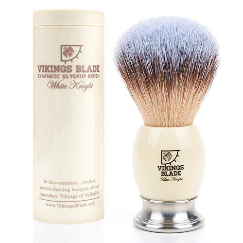 VIKINGS BLADE 'White Knight' Luxury Shaving Brush, Heavy Steel Base + Faux Ivory Acrylic